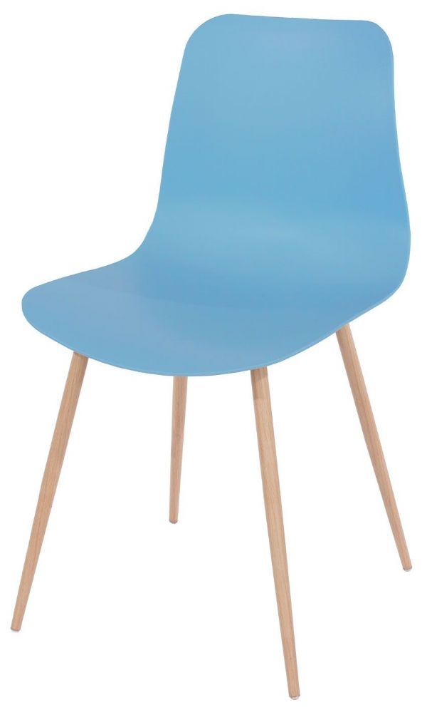Pair of Aspen Wood Effect Metal Tapered Leg Plastic Chairs